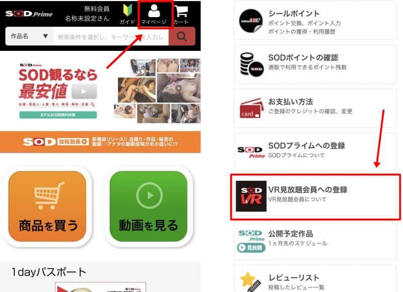 SODVR見放題の申し込み画面
