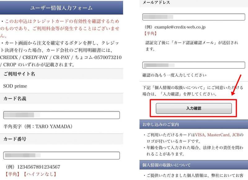 SODVR申し込み登録画面